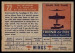 1952 Topps Wings #22   F3D Skynight Back Thumbnail
