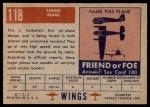 1952 Topps Wings #118   Target Plane Back Thumbnail