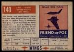 1952 Topps Wings #140   XP5Y-1 Vultee Back Thumbnail