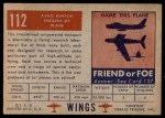 1952 Topps Wings #112   Avro Aston Back Thumbnail