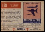 1952 Topps Wings #139   PBM-5 Mariner Back Thumbnail