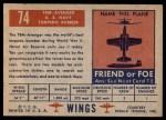 1952 Topps Wings #74   TBM Avenger Back Thumbnail