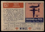 1952 Topps Wings #157   Breguet Type III Back Thumbnail