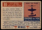 1952 Topps Wings #86   B-25 Mitchell Back Thumbnail