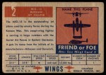 1952 Topps Wings #2   MIG-15 Back Thumbnail