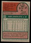 1975 Topps #520  Amos Otis  Back Thumbnail
