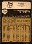 1973 O-Pee-Chee #570  Bill Singer  Back Thumbnail