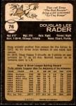 1973 O-Pee-Chee #76  Doug Rader  Back Thumbnail