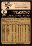 1973 O-Pee-Chee #21  Randy Hundley  Back Thumbnail