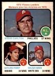 1973 O-Pee-Chee #66   -  Steve Carlton / Gaylord Perry / Wilbur Wood Victory Leaders Front Thumbnail