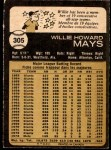 1973 O-Pee-Chee #305  Willie Mays  Back Thumbnail