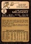 1973 O-Pee-Chee #47  Luis Melendez  Back Thumbnail