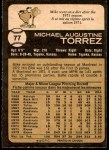 1973 O-Pee-Chee #77  Mike Torrez  Back Thumbnail