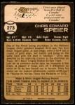 1973 O-Pee-Chee #273  Chris Speier  Back Thumbnail
