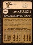 1973 O-Pee-Chee #644  Jack Heidemann  Back Thumbnail