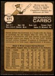 1973 O-Pee-Chee #171  Bernie Carbo  Back Thumbnail