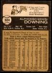 1973 O-Pee-Chee #324  Al Downing  Back Thumbnail
