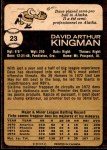 1973 O-Pee-Chee #23  Dave Kingman  Back Thumbnail