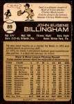 1973 O-Pee-Chee #89  Jack Billingham  Back Thumbnail