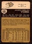 1973 O-Pee-Chee #546  Jim York  Back Thumbnail