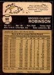 1973 O-Pee-Chee #90  Brooks Robinson  Back Thumbnail