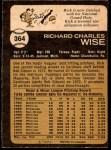 1973 O-Pee-Chee #364  Rick Wise  Back Thumbnail