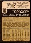 1973 O-Pee-Chee #302  Terry Crowley  Back Thumbnail