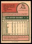 1975 O-Pee-Chee #552  Jack Brohamer  Back Thumbnail