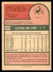 1975 O-Pee-Chee #423  Clay Kirby  Back Thumbnail