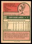 1975 O-Pee-Chee #258  Dave LaRoche  Back Thumbnail