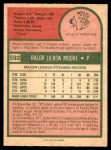 1975 O-Pee-Chee #592  Balor Moore  Back Thumbnail