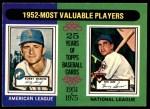 1975 O-Pee-Chee #190   -  Bobby Shantz / Hank Sauer 1952 MVPs Front Thumbnail