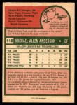 1975 O-Pee-Chee #118  Mike Anderson  Back Thumbnail