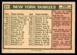 1975 O-Pee-Chee #611   -  Bill Virdon Yankees Team Checklist Back Thumbnail