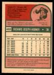 1975 O-Pee-Chee #492  Rich Hebner  Back Thumbnail