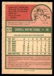 1975 O-Pee-Chee #475  Darrell Evans  Back Thumbnail