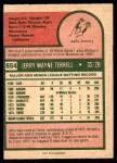 1975 O-Pee-Chee #654  Jerry Terrell  Back Thumbnail