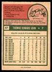 1975 O-Pee-Chee #47  Tommy John  Back Thumbnail
