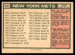 1975 O-Pee-Chee #421   -  Yogi Berra Mets Team Checklist Back Thumbnail