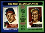 1975 O-Pee-Chee #191   -  Al Rosen / Roy Campanella 1953 MVPs Front Thumbnail