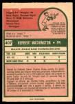 1975 O-Pee-Chee #407  Herb Washington  Back Thumbnail