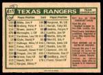 1975 O-Pee-Chee #511   -  Billy Martin Rangers Team Checklist Back Thumbnail