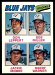 1977 O-Pee-Chee #58   -  Don Leppert / Bob Miller / Jackie Moore / Harry Warner Blue Jays Coaches Front Thumbnail