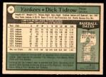 1979 O-Pee-Chee #37  Dick Tidrow  Back Thumbnail