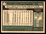 1979 O-Pee-Chee #132 TR Oscar Gamble   Back Thumbnail