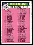 1979 O-Pee-Chee #121   Checklist 1-125 Front Thumbnail