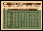 1976 O-Pee-Chee #341   -  Lou Gehrig All-Time All-Stars Back Thumbnail