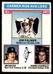1976 O-Pee-Chee #202   -  Jim Palmer / Catfish Hunter / Dennis Eckersley AL ERA Leaders   Front Thumbnail