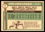 1976 O-Pee-Chee #7  Jim Umbarger  Back Thumbnail