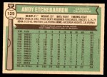 1976 O-Pee-Chee #129  Andy Etchebarren  Back Thumbnail